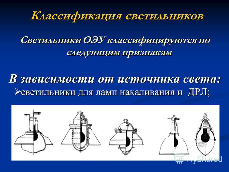 Классификация светильников Светильники ОЭУ классифицируются по следующим признакам В зависимости от источника света: В зависимости от источника света: светильники для ламп накаливания и ДРЛ; светильники для ламп накаливания и ДРЛ;