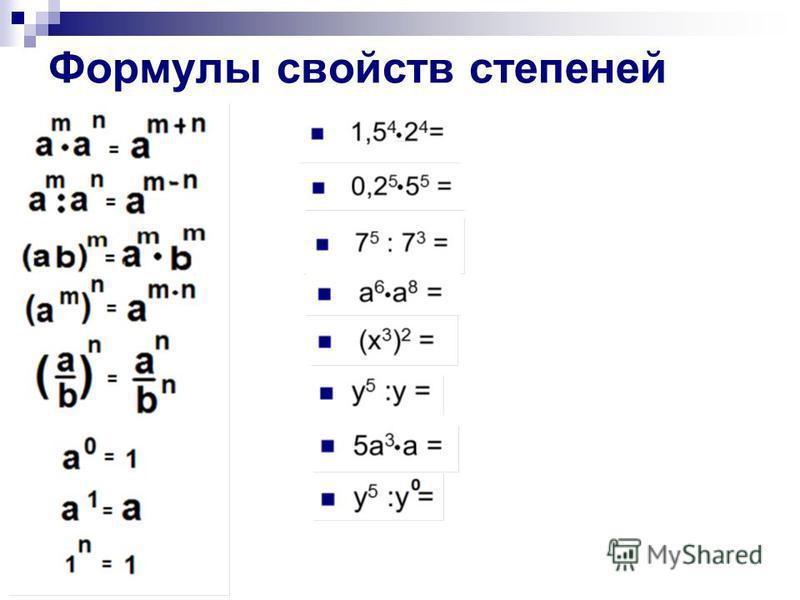 Формулы свойств степеней