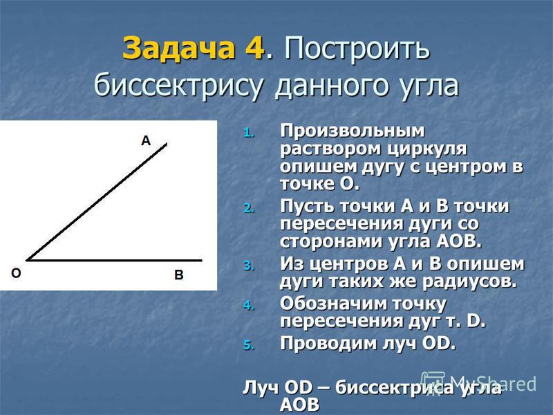 Задача 4. Построить биссектрису данного угла 1. Произвольным раствором циркуля опишем дугу с центром в точке О. 2. Пусть точки А и В точки пересечения дуги со сторонами угла АОВ. 3. Из центров А и В опишем дуги таких же радиусов. 4. Обозначим точку п