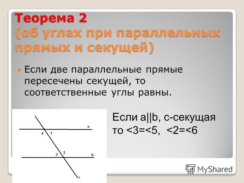 Теорема 2 (об углах при параллельных прямых и секущей) Если две параллельные прямые пересечены секущей, то соответственные углы равны. Если а||b, с-секущая то <3=<5, <2=<6
