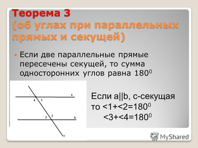 Теорема 3 (об углах при параллельных прямых и секущей) Если две параллельные прямые пересечены секущей, то сумма односторонних углов равна 180 0 Если а||b, с-секущая то <1+<2=180 0 <3+<4=180 0