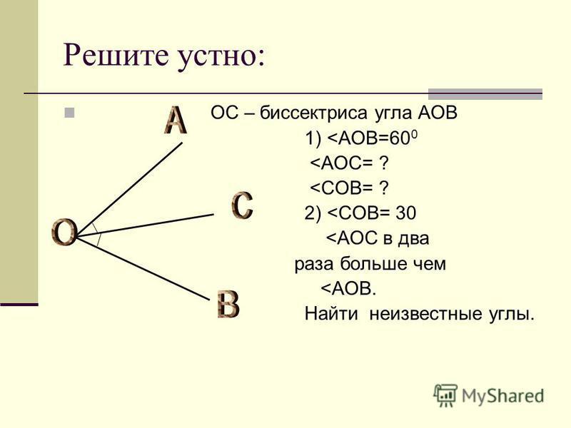 Решите устно: ОС – биссектриса угла АОВ 1) <AOB=60 0 <AOC= ? <COB= ? 2) <COB= 30 <AOC в два раза больше чем <AOB. Найти неизвестные углы.