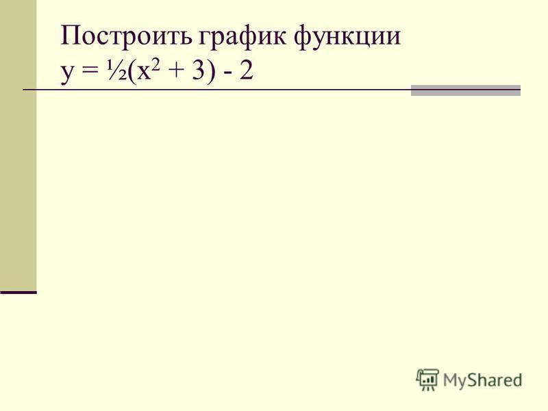 Построить график функции y = ½(x 2 + 3) - 2