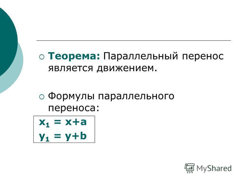 Теорема: Параллельный перенос является движением. Формулы параллельного переноса: х 1 = х+а у 1 = у+b