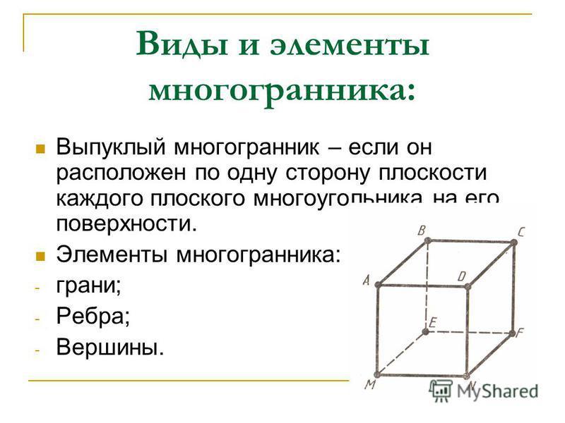 Виды и элементы многогранника: Выпуклый многогранник – если он расположен по одну сторону плоскости каждого плоского многоугольника на его поверхности. Элементы многогранника: - грани; - Ребра; - Вершины.