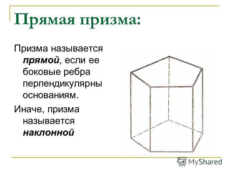 Прямая призма: Призма называется прямой, если ее боковые ребра перпендикулярны основаниям. Иначе, призма называется наклонной