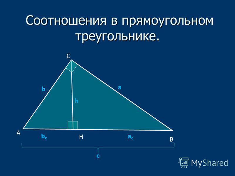 Соотношения в прямоугольном треугольнике. Соотношения в прямоугольном треугольнике. А В С Н асас bсbс а b h c