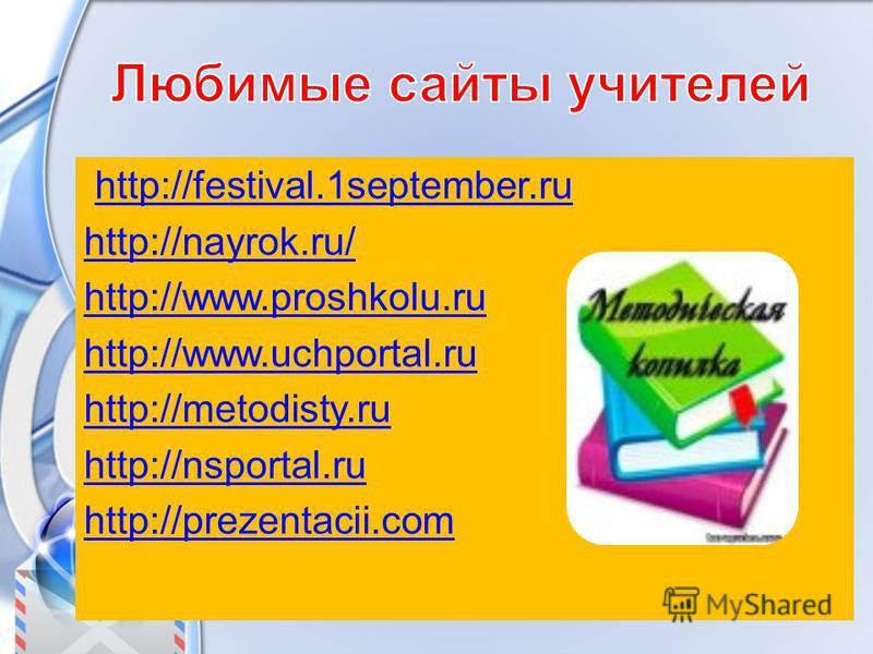 http://festival.1september.ru http://nayrok.ru/ http://www.proshkolu.ru http://www.uchportal.ru http://metodisty.ru http://nsportal.ru http://prezentacii.com