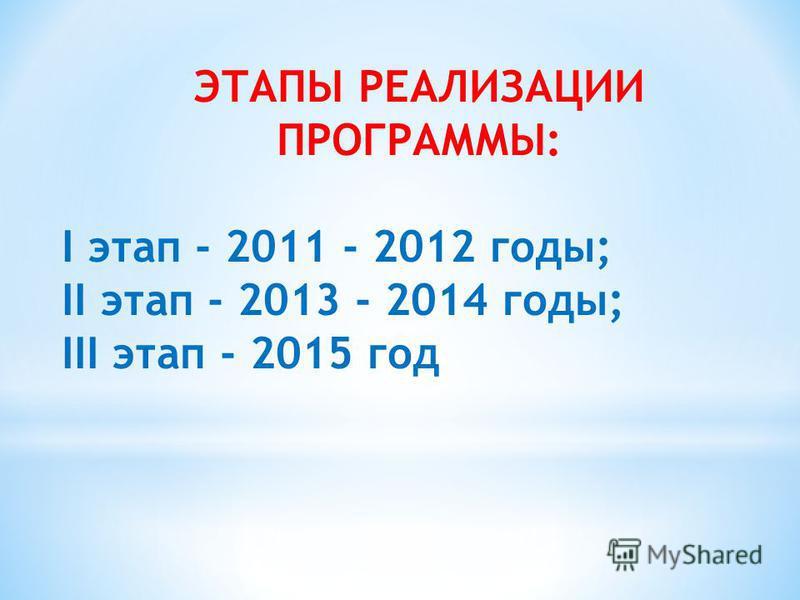 ЭТАПЫ РЕАЛИЗАЦИИ ПРОГРАММЫ: I этап - 2011 - 2012 годы; II этап - 2013 - 2014 годы; III этап - 2015 год