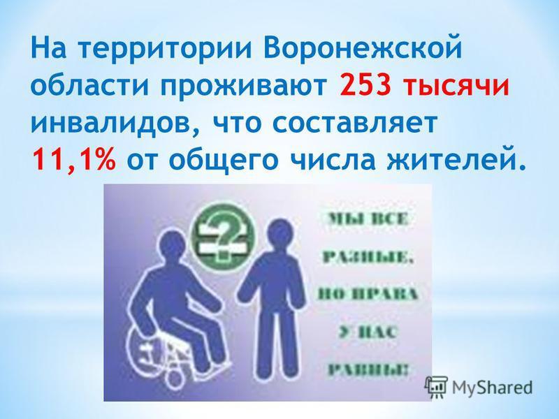 На территории Воронежской области проживают 253 тысячи инвалидов, что составляет 11,1% от общего числа жителей.