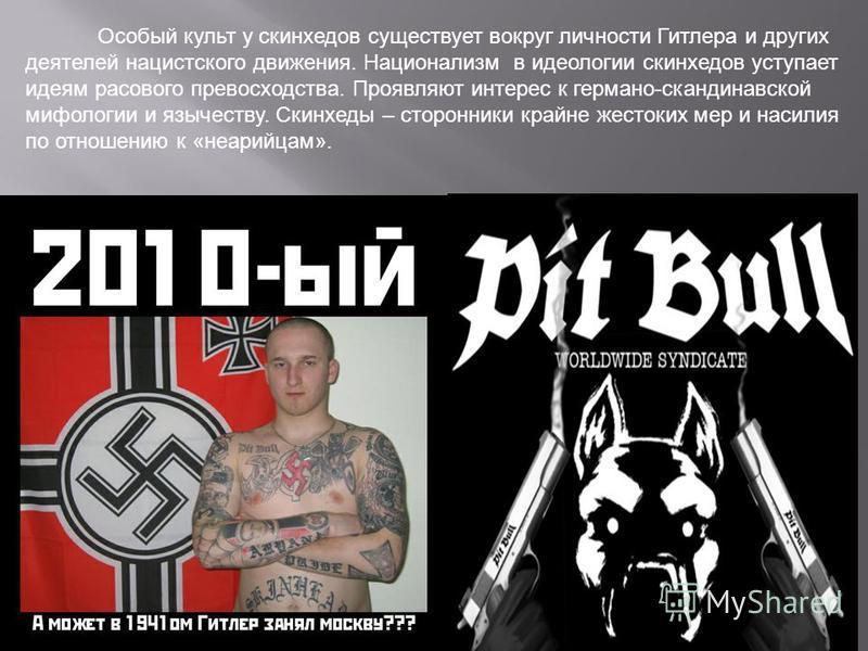 Особый культ у скинхедов существует вокруг личности Гитлера и других деятелей нацистского движения. Национализм в идеологии скинхедов уступает идеям расового превосходства. Проявляют интерес к германо-скандинавской мифологии и язычеству. Скинхеды – с