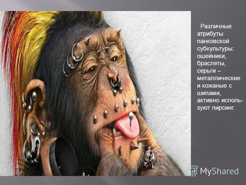 Различные атрибуты банковской субкультуры: ошейники, браслеты, серьги – металлические и кожаные с шипами, активно используют пирсинг.