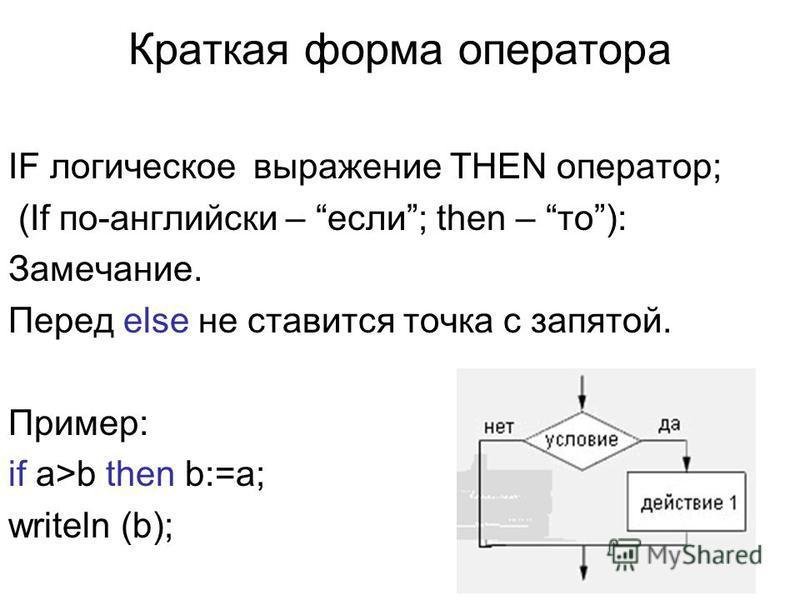 Краткая форма оператора IF логическое выражение THEN оператор; (If по-английски – если; then – то): Замечание. Перед else не ставится точка с запятой. Пример: if a>b then b:=a; writeln (b);