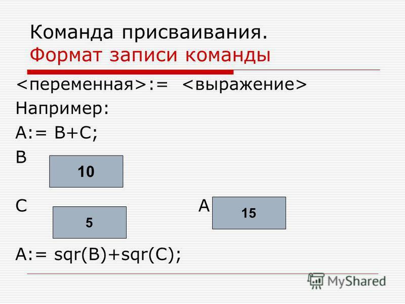 Команда присваивания. Формат записи команды := Например: А:= В+С; В С А А:= sqr(B)+sqr(C); 10 5 1515