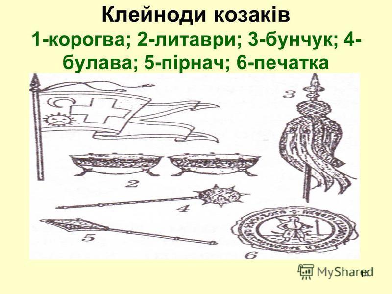 14 Клейноди козаків 1-корогва; 2-литаври; 3-бунчук; 4- булава; 5-пірнач; 6-печатка