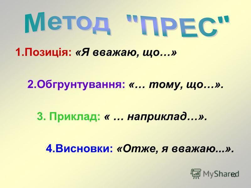 10 1.Позиція: «Я вважаю, що…» 2.Обгрунтування: «… тому, що…». 3. Приклад: « … наприклад…». 4.Висновки: «Отже, я вважаю...».