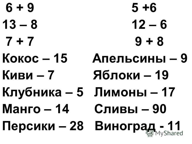 6 + 9 5 +6 13 – 8 12 – 6 7 + 7 9 + 8 Кокос – 15 Апельсины – 9 Киви – 7 Яблоки – 19 Клубника – 5 Лимоны – 17 Манго – 14 Сливы – 90 Персики – 28 Виноград - 11