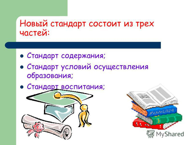 Новый стандарт состоит из трех частей: Стандарт содержания; Стандарт условий осуществления образования; Стандарт воспитания;