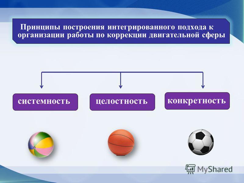 Принципы построения интегрированного подхода к организации работы по коррекции двигательной сферы системность целостность конкретность