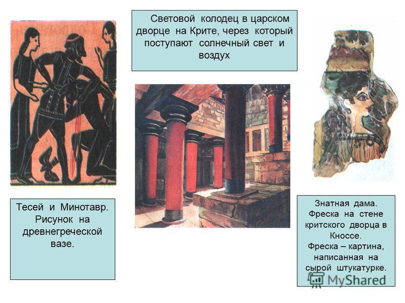 Световой колодец в царском дворце на Крите, через который поступают солнечный свет и воздух Тесей и Минотавр. Рисунок на древнегреческой вазе. Знатная дама. Фреска на стене критского дворца в Кноссе. Фреска – картина, написанная на сырой штукатурке.