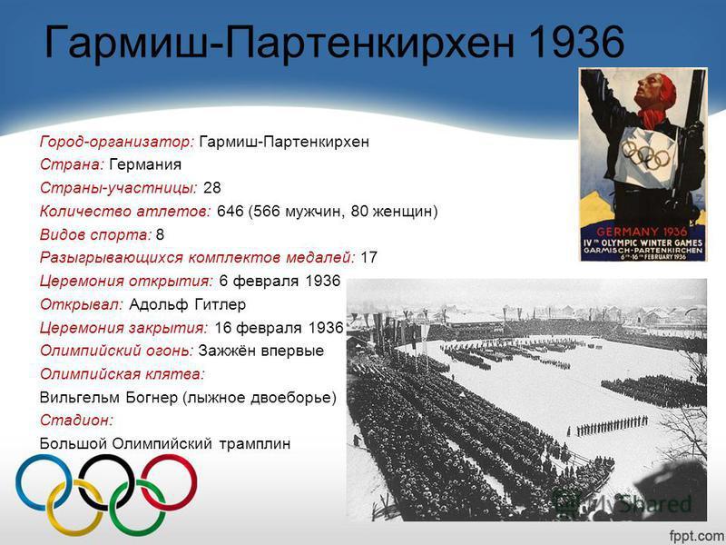 Гармиш-Партенкирхен 1936 Город-организатор: Гармиш-Партенкирхен Страна: Германия Страны-участницы: 28 Количество атлетов: 646 (566 мужчин, 80 женщин) Видов спорта: 8 Разыгрывающихся комплектов медалей: 17 Церемония открытия: 6 февраля 1936 Открывал: