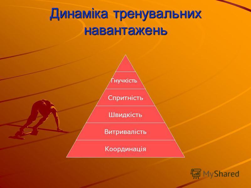 Динаміка тренувальних навантажень Гнучкість Спритність Швидкість Витривалість Координація