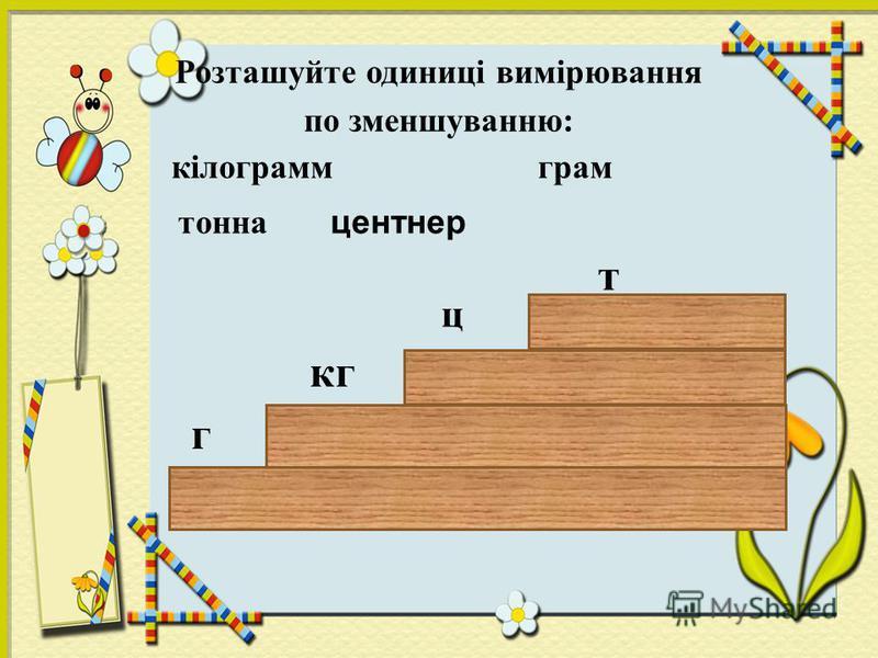 Розташуйте одиниці вимірювання по зменшуванню: кілограммграм тонна г кг т центнер ц