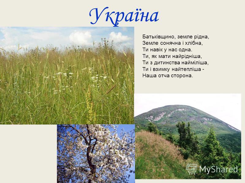 Україна Батьківщино, земле рідна, Земле сонячна і хлібна, Ти навік у нас одна. Ти, як мати найрідніша, Ти з дитинства найміліша, Ти і взимку найтепліша - Наша отча сторона.