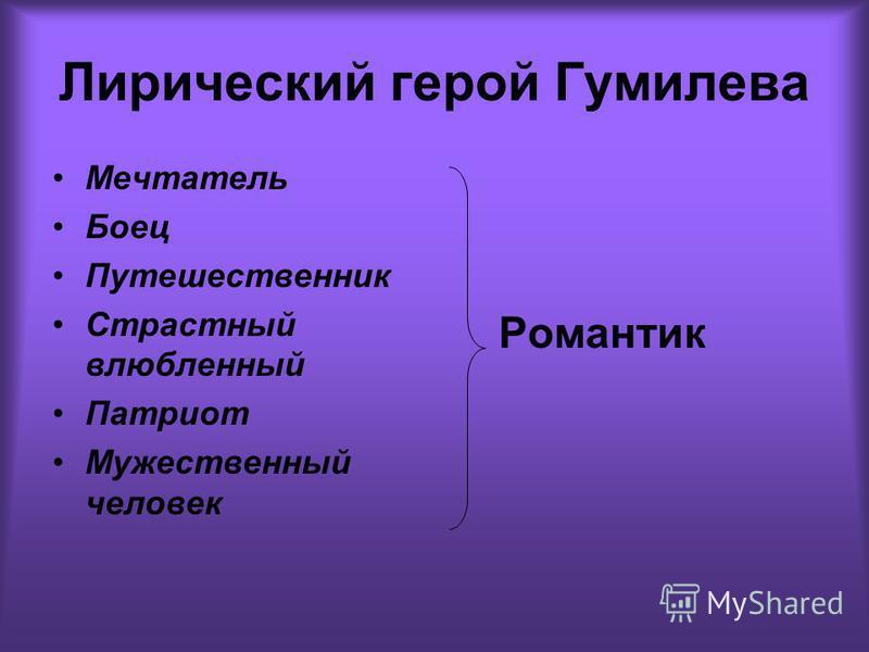 Лирический герой Гумилева Мечтатель Боец Путешественник Страстный влюбленный Патриот Мужественный человек Романтик