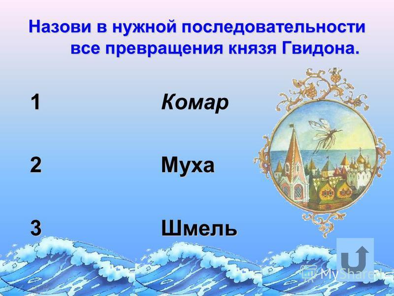 Назови в нужной последовательности все превращения князя Гвидона. 1 2 3 Комар МухаШмель