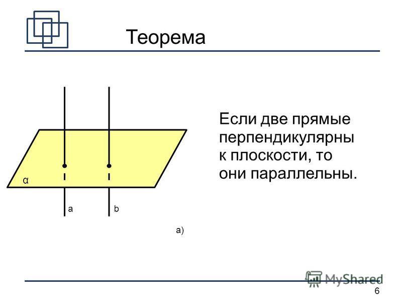 6 ab α a) Теорема Если две прямые перпендикулярныы к плоскости, то они параллельны.