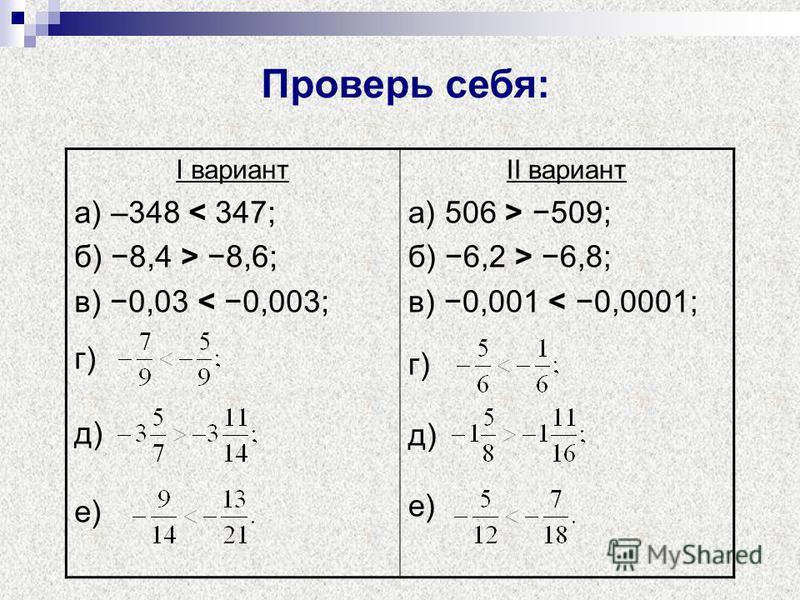 Проверь себя: I вариант а) –348 < 347; б) 8,4 > 8,6; в) 0,03 < 0,003; г) д) е) II вариант а) 506 > 509; б) 6,2 > 6,8; в) 0,001 < 0,0001; г) д) е)