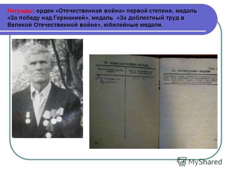 Уволился в запас 10 сентября 1942 г. После увольнения работал в мастерских при автобазе литейщиком-формовщиком.