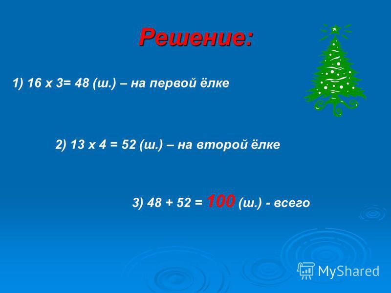 Решение: 1) 16 х 3= 48 (ш.) – на первой ёлке 2) 13 х 4 = 52 (ш.) – на второй ёлке 3) 48 + 52 = 100 (ш.) - всего