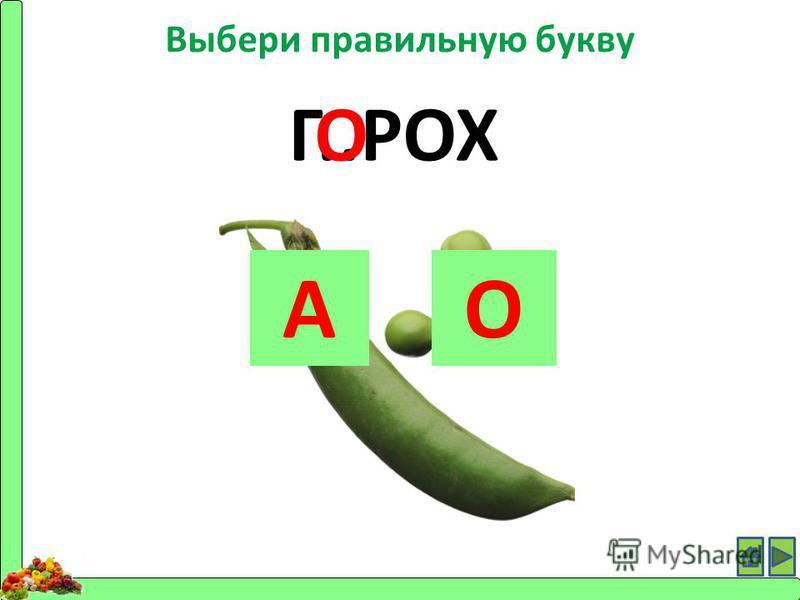 Выбери правильную букву Г..РОХ АО О
