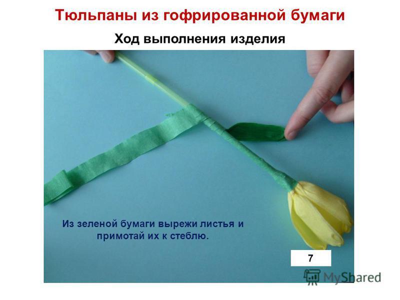 Тюльпаны из гофрированной бумаги Ход выполнения изделия 7 Из зеленой бумаги вырежи листья и примотай их к стеблю.