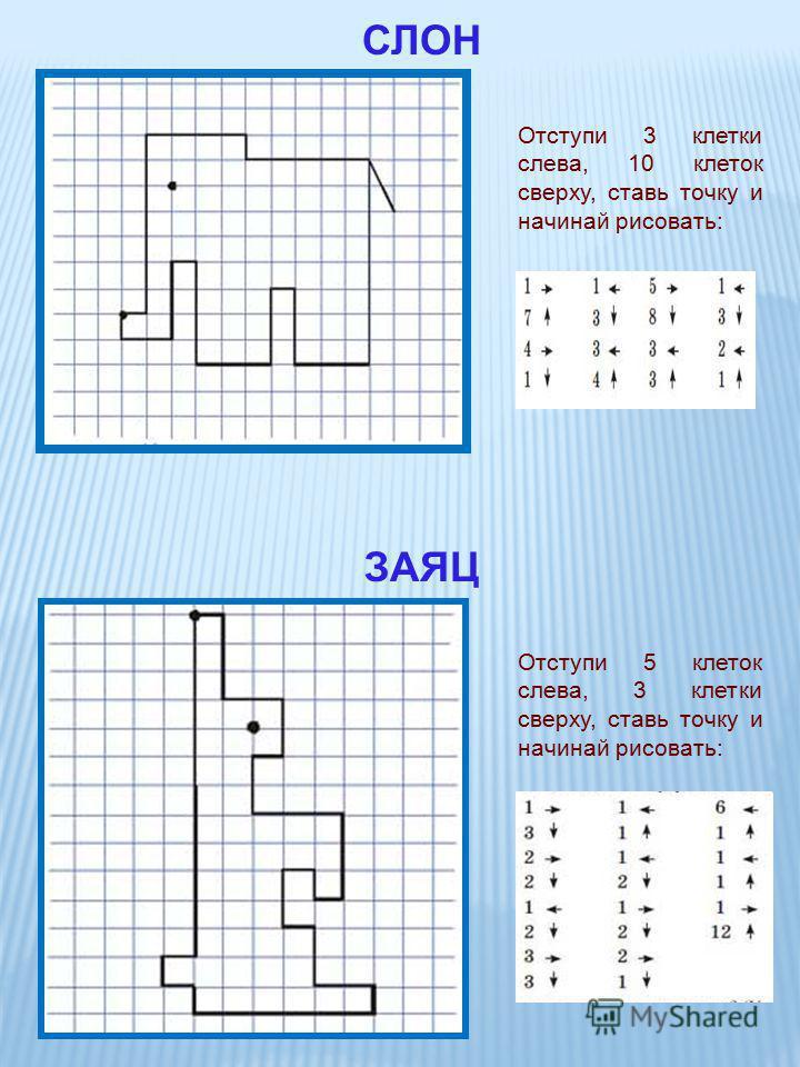 Отступи 3 клетки слева, 10 клеток сверху, ставь точку и начинай рисовать: СЛОН Отступи 5 клеток слева, 3 клетки сверху, ставь точку и начинай рисовать: ЗАЯЦ