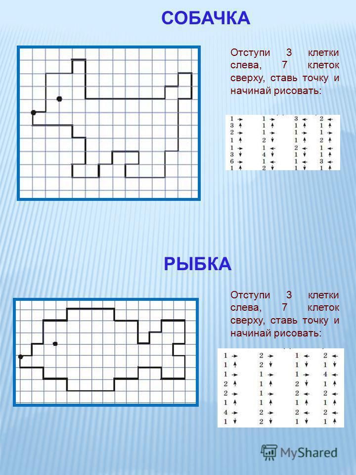 Отступи 3 клетки слева, 7 клеток сверху, ставь точку и начинай рисовать: СОБАЧКА Отступи 3 клетки слева, 7 клеток сверху, ставь точку и начинай рисовать: РЫБКА