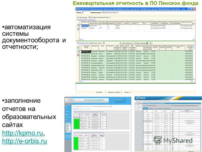 автоматизация системы документооборота и отчетности; Ежеквартальная отчетность в ПО Пенсион.фонда заполнение отчетов на образовательных сайтах http://kpmo.ru, http://e-orbis.ru http://kpmo.ru http://e-orbis.ru