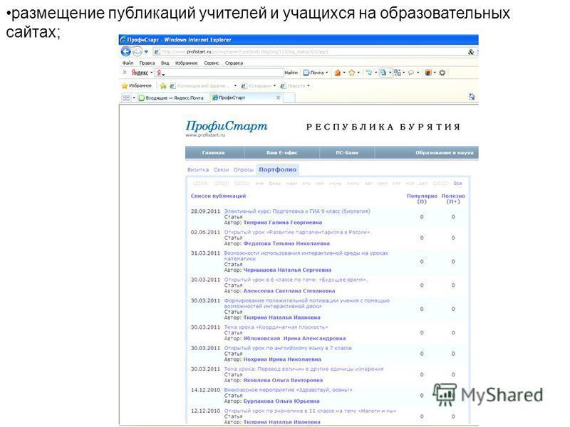 размещение публикаций учителей и учащихся на образовательных сайтах;