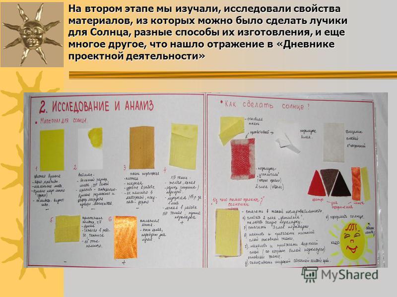 На втором этапе мы изучали, исследовали свойства материалов, из которых можно было сделать лучики для Солнца, разные способы их изготовления, и еще многое другое, что нашло отражение в «Дневнике проектной деятельности»