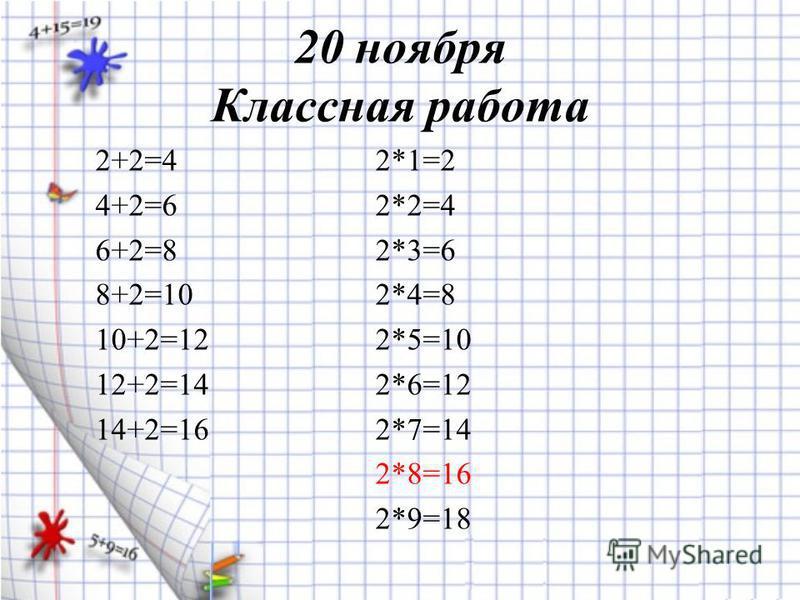 2+2=42*1=2 4+2=62*2=4 6+2=82*3=6 8+2=102*4=8 10+2=122*5=10 12+2=142*6=12 14+2=162*7=14 2*8=16 2*9=18