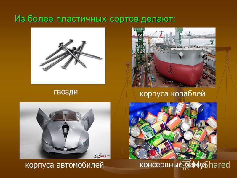 Из более пластичных сортов делают: гвозди корпуса кораблей корпуса автомобилей консервные банки