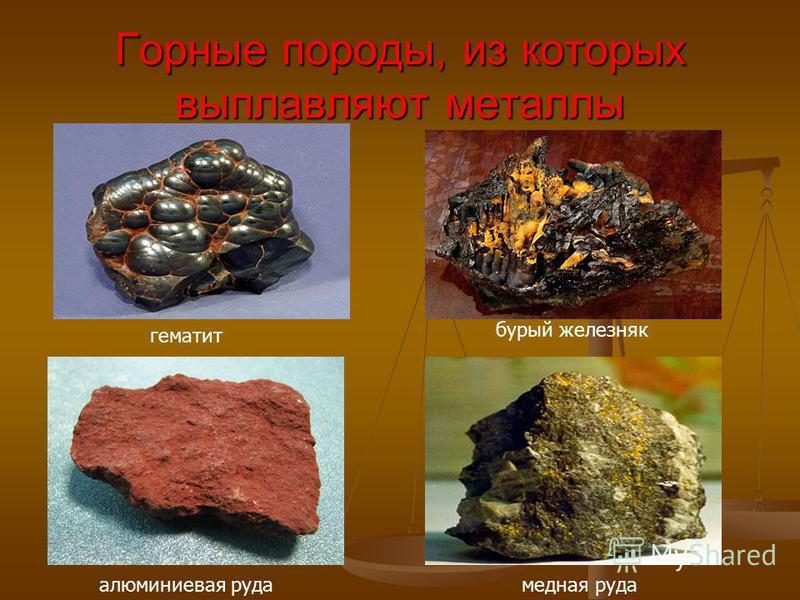 Горные породы, из которых выплавляют металлы гематит алюминиевая руда бурый железняк медная руда