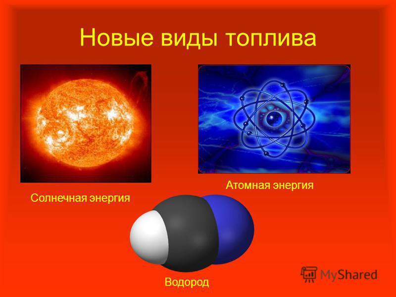 Новые виды топлива Солнечная энергия Атомная энергия Водород