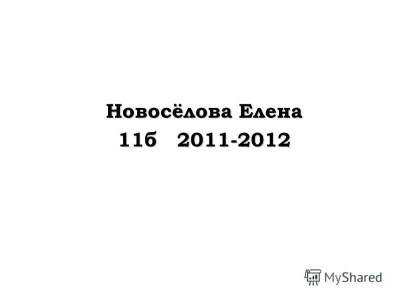 Новосёлова Елена 11б 2011-2012