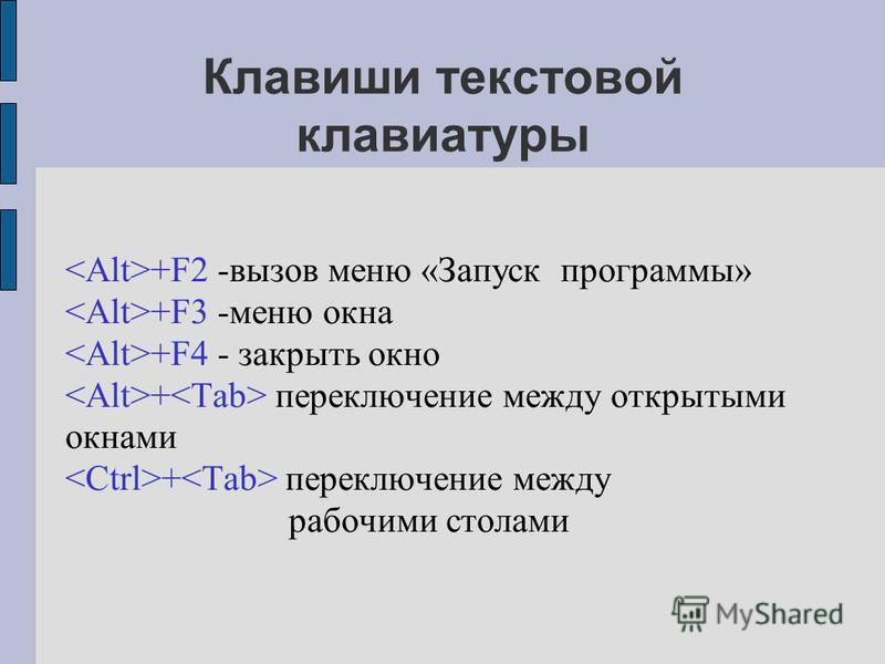 Клавиши текстовой клавиатуры +F2 -вызов меню «Запуск программы» +F3 -меню окна +F4 - закрыть окно + переключение между открытыми окнами + переключение между рабочими столами
