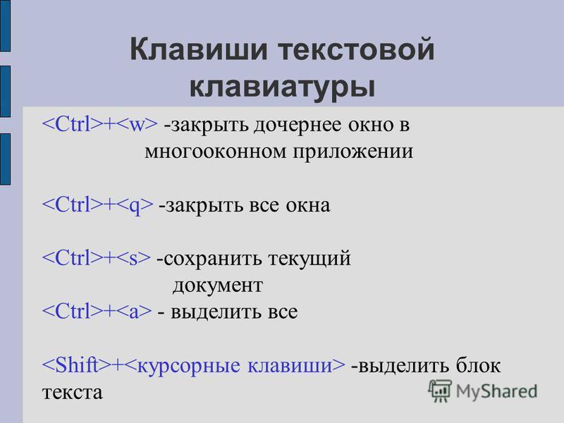 Клавиши текстовой клавиатуры + -закрыть дочернее окно в многооконном приложении + -закрыть все окна + -сохранить текущий документ + - выделить все + -выделить блок текста