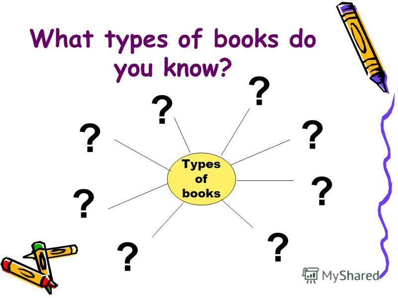 What types of books do you know? Types of books ? ? ? ? ? ? ? ?
