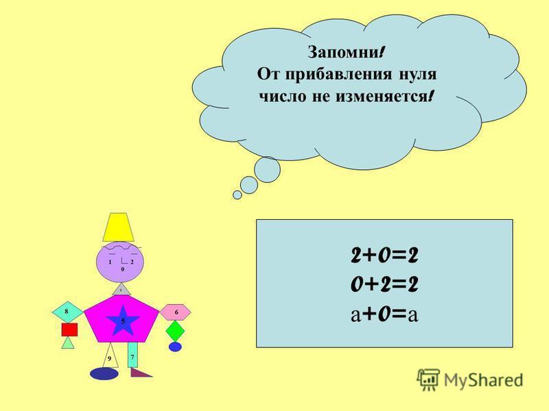 Запомни ! От прибавления нуля число не изменяется ! 2+0=2 0+2=2 а +0= а